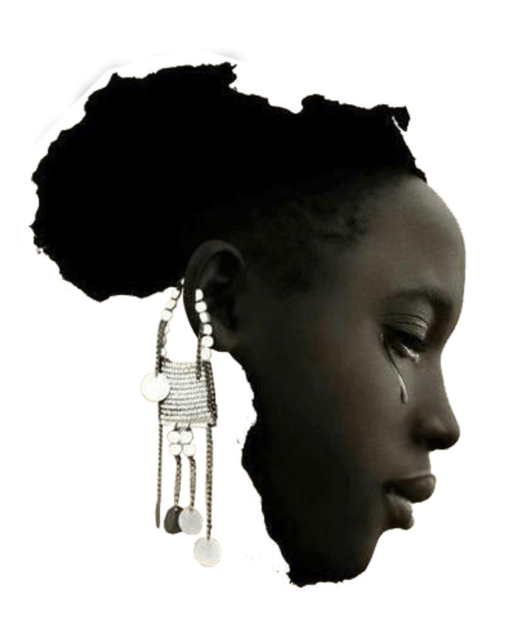 The continent Africa, portrayed as the crying face of a woman